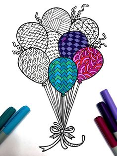 8.5x11 PDF coloring page of a bunch of balloons! * You will receive a black and white PDF, with no color. * Partially colored image is for display purposes only. Fun for all ages. Relieve stress, or just relax and have fun using your favorite colored pencils, pens, watercolors, paint,
