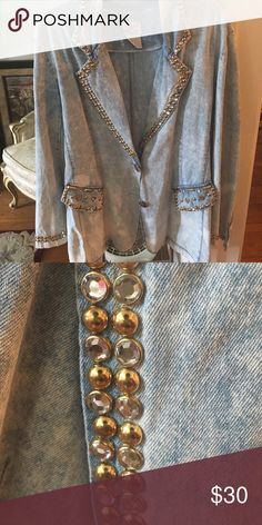 Vintage Denim Studded Jacket Size Large. Great Condition. Perfect for any fashionista! Jackets & Coats Jean Jackets