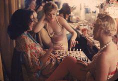 Showgirls playing chess backstage at the Latin Quarter nightclub - New York, NY…