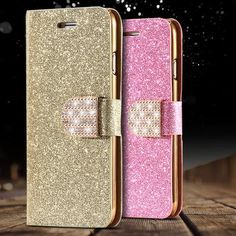 i6/6S/Plus Stand Wallet Cover Fashion Bling Glitter Diamond PU Leather – Hespirides Gifts