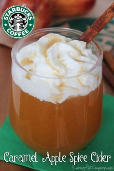 But use real apple cider. Copycat Starbucks Caramel Apple Spice Cider AND Cinnamon Dolce Syrup Recipe Starbucks Fall Drinks, Starbucks Recipes, Healthy Starbucks, Starbucks Coffee, Coffee Recipes, Spiced Apples, Caramel Apples, Apple Caramel, Hot Caramel Apple Cider Recipe