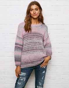 650065703b4b Don t Ask Why Oversized Crew Neck Sweater by American Eagle Outfitters Pink  Sweater