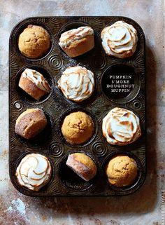 Pumpking Smore Dougnut Muffin via Bakers Royale | pumpkin recipes, pumpkin desserts