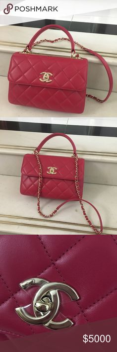 Chanel trendy cc The Cutest, classy Rosey pink red, lamp skin, but not as fragile as classic flap. This color is extremely hard to find, and it makes every outfit feminine and this color stands out in the crowds. No box, yes dust bags and certification card. No trade CHANEL Bags