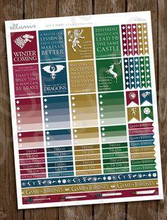 Game of Thrones Planner Stickers | PRINTABLE Instant Download | GoT Stickers | Game of Thrones Stickers | TV Series | Book | Erin Condren