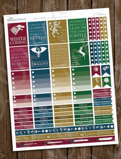 Game of Thrones Planner Stickers  PRINTABLE Instant by ellums