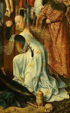Meister von Frankfurt, Kreuzigungstriptychon der Frankfurter Patrizierfamilie Humbracht, Detail mit Maria Magdalena (Master of Frankfurt, Crucifixion Triptych of the Humbracht Family of Frankfurt, detail showing Mary Magdalene)