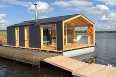 This is a 280 sq. ft. modern houseboat cabin called the DublDom26which is used as a suite for a hotel in the area on the Volga River. It's a prefabricated tiny home from a builder near Mosco…