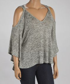 Great view of the neckline I want on some of the T-shirt refashions. Love it!  Sloppy but elegant.  - Another great find on #zulily! Heather Silver Cutout Blouson Top - Plus #zulilyfinds