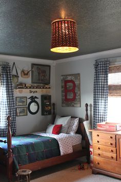 Darling boys bedroom makeover from Maple Leaves & Sycamore Trees. Love the pallet monogram and basket light!