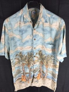 MENS VTG DON RAY KAHALA BLUE ALOHA FLORAL HAWAIIAN CASUAL RAYON SHIRT XL GUITAR #DONRAYCOLLECTIONBYKAHALA #Hawaiian