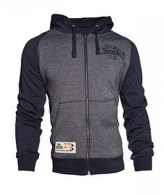 """Lonsdale Kapuzen-Zipsweater für Herren in sportlichem Design. Der Zipsweater hat einen großen Rücken-Print mit Motiven des Boxsports und den kleinen Schriftzug """"Lonsdale Boxing Club"""" auf der linken Brust. Kapuze, Ärmel und Bündchen sind farblich vom Körper abgehoben und sorgen so für einen coolen Collegejacken-Look.  Material: 50% Cotton, 50% Polyester..."""