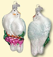 "Since ancient times, doves have been considered sacred, as well as a symbols of peace. The expression ""lovey-dovey"" is applied to sweetly affectionate couples because their love is so strong that it can only be separated by death. #lovebirds #glass #ornaments #oldworldchristmas #birds #doves  Love Birds (Item #16101)"