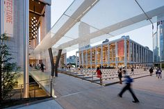 Iwan Baan photo of DS+R's Lincoln Center // Josie Robertson Plaza with the integrated LED signage in the stair risers