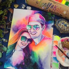 CUSTOM rainbow PORTRAIT PAINTING from photo of engaged couple, Unique engagement gifts for couples Christmas gifts Gifts for fiance, funny Custom watercolor portrait Christmas Presents For Girlfriend, Personalised Gifts For Girlfriend, Christmas Gifts For Couples, Gifts For Fiance, Personalized Birthday Gifts, Couple Gifts, Girlfriend Gift, Christmas Couple, One Year Anniversary Gifts