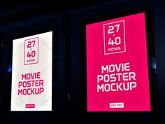 "Photo-realistic depiction of two movie posters (each 27x40""). Fully layered PSD with the dimensions 3000 × 2000 px."