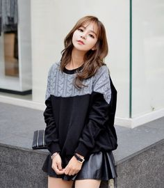 All Korean Fashion items Up to 70%OFF! Cable-Knit Trim Sweatshirt #sweatshirt #cableknitsweatshirt #knitsweatshirt #koreanfashion #fashion