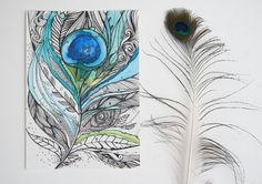 Zen Peacock Feather- 5x7 Original Artwork, Ink and Water Colors