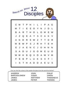 """""""Search for Jesus' Twelve Disciples"""" Word Search Puzzle Sunday School Crafts For Kids, Bible School Crafts, Sunday School Activities, Bible Activities, Sunday School Lessons, Bible Games, Bible Crafts, Kids Crafts, Bible Study For Kids"""