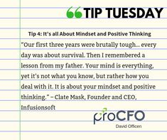 Once you replace negative thoughts with positive ones, you'll start having positive results. #TipTuesday from David Officen  #TipoftheDay #proCFOPerth #DavidOfficen #virtualCFO #BusinessImprovementAdvice #TuesdayPost #business #businesstips #B2B