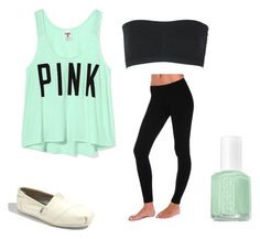 """""""P•I•N•K"""" by peyton-brown ❤ liked on Polyvore featuring Victoria's Secret, Butter, TOMS and Essie"""