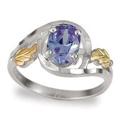 Amazon.com: Classsy Diamond cut Black Hills Gold & Sterling-Silver Lavender Blue CZ Women's Ring: Jewelry