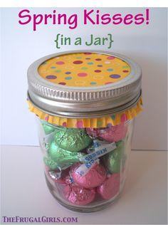 Spring Kisses… in a Jar!  {plus more sweet mason jar gift ideas!} #masonjars