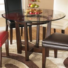 """Glass Top Round Dining Room Table Kitchen Solid Wood 4 Person 45"""" Classic Brown #SDASFurniture #Contemporary"""