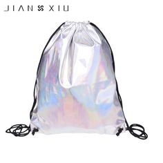 JIANXIU 2017 Holo Graphic Drawstring Bags Smooth Leather Unisex Hologram Schoolbags Multi-functional Fashion Stylish Bags