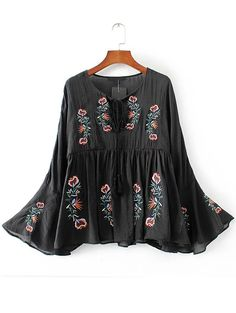 Shop Black Floral Embroidery Bell Sleeve Blouse online. SheIn offers Black Floral Embroidery Bell Sleeve Blouse & more to fit your fashionable needs.