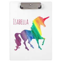 Shop Personalized Cool Rainbow Unicorn Watercolor Kids Clipboard created by LilPartyPlanners. Light Up Unicorn, Real Unicorn, Cute Unicorn, Rainbow Unicorn, Unicorn Drawing, Unicorn Art, Unicorn Gifts, Unicorn Quotes, Study Room Decor