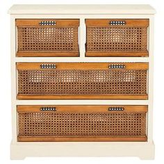 Bring a touch of shabby elegance to your kitchen or bathroom with this pine wood cabinet. Showcasing four cane drawers, it is the perfect place to store guest towels or kitchen essentials.   Product: Storage unitConstruction Material: Pine wood and caneColour: White and naturalFeatures: Two small drawers Two large drawers  Dimensions: 76.96 cm H x 73 cm W x 35 cm DAssembly: Assembly requiredCleaning and Care:Wood is a natural material with variations of color shade, configuration, streaks…
