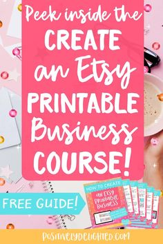 """You can do all the research in the world, but sometimes, you just want someone to tell you what to do and how to get started! If this is how you feel about selling digital products on Etsy, then I have the perfect resource for you! In this post, I'll walk you through my """"Create an Etsy Printable Business"""" course. Plus, download a FREE guide and get 40 FREE listings to open your Etsy shop today! #etsy #etsyseller #etsyshop #etsytips #etsymarketing Work From Home Moms, Make Money From Home, How To Make Money, Make And Sell, Starting An Etsy Business, Sell On Etsy, What Sells On Etsy, My Etsy Shop, What To Sell"""