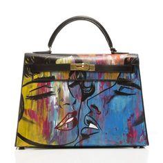 Customised Vintage Hermes Kelly 'Graffiti Kiss' Bag