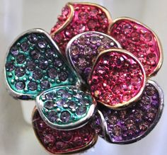 MulticolorJeweled Flower Cocktail Ring by victoriascharms on Etsy, $12.00