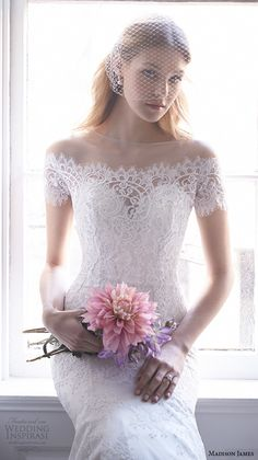Madison James Bridal Fall 2015 Wedding Dresses   Wedding Inspirasi   Beautiful, Lace, Off-The-Shoulder Mermaid Silhouette Bridal Gown Featuring Buttons Down The Back & Skirt To The Hemline, Chapel Train>>>>