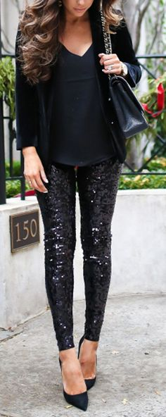 Perfect Simple glam holiday look! Expressboyfriend blazer, express leggings, express cami, Chanel earrings, michele watch. The Sweetest Thing Blog, Emily Ann Gemma. Fashion Blogger, Fashion Outfit, Glam Fashion, Formal outfit, evening style, women fashion. #TheSweetestThingBlog #EmilyAnnGemma #fashionoutfit