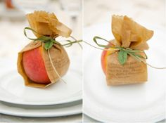 These peaches wrapped in the printed dinner menu and used as seating cards could not be more perfect.