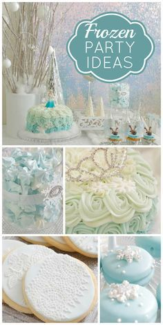 A Frozen girl birthday party with an amazing dessert table and shimmering backdrop! See more party planning ideas at CatchMyParty.com!