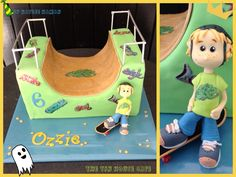 By Kaylee Haman. Awesome skateboard ramp half pipe cake with birthday boy figurine! ;)