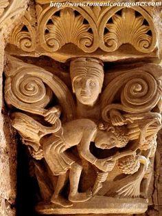 CARRIÓN DE LOS CONDES: SAN ZOILO. CAPITEL DE LA VENDIMIA Romanesque Sculpture, Romanesque Art, Graven Images, Roman Church, Ancient Goddesses, Carolingian, Gothic Architecture, European History, Medieval Art