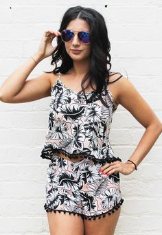 Aloha Tropical Palm Leaf Print Pom Pom Cami Top & Shorts Co-ord Set in Pink, Black & White