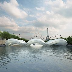 Paris trampoline bridge On the River Seine
