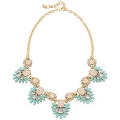 Enchanted Statement Necklace - Mint and peach