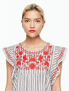 stripe embroidered babydoll  dress by kate spade new york  embroidery on striped fabric