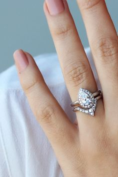 Pear Shaped Moissanite Engagement Ring with by SillyShinyDiamonds