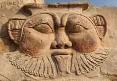 Relief of Bes in the forecourt of the Hathor Temple at Dendera. The dwarf-like god was seen as the protector of pregnant women, newborn babies