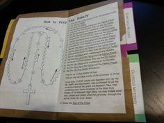 Rosary Folder - made from paper bag (folded over). For 3rd grade CCD class. Contains: Mysteries, How to Pray diagram, List of Prayers, and a 1-Decade Rosary on back