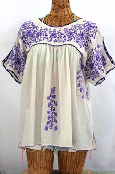 """Just finished!  The """"Lijera Libre"""" XL Embroidered Mexican Blouse in Off White with Variegated Purple Embroidery.  Find yours at SirenSirenSiren.com."""