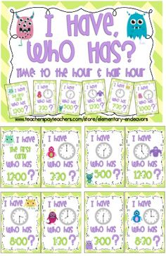 I Have, Who Has? Game includes 25 game cards that feature time on an analog clock to the hour and half hour. $2 from Elementary Endeavors